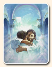 Christ hugging a man in Heaven