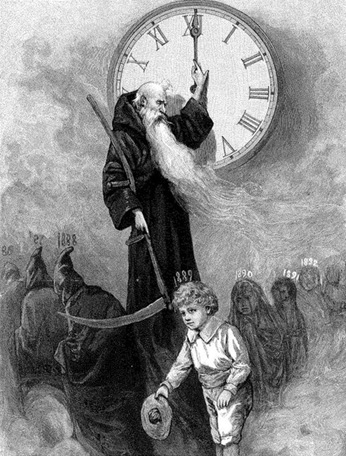father time ushering in the new year (young children)