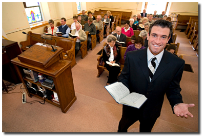 preacher and congregation in church building