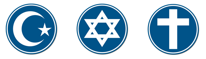 Muslim crescent, Star of David, and Cross