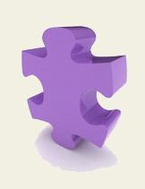 pieza del rompecabezas de color púrpura