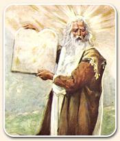 Tableau représentant Moïse tenant les Dix Commandements, gravés sur des tablettes de pierres par la mina de YHWH Dieu Elohim Adonaï Yahuwah; la Loi présentée au peuple; lumière divine émanant du visage du prophète, cheveux blancs et longue barbe blanche
