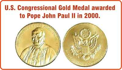 u.s. congressional medal awarded to pope john paul ii in 2000