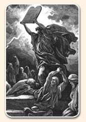 Moïse sur le mont Sinaï avec les Dix Commandements dans les mains, les montrant au peuple en tant que Paroles de l'alliance avec YHWH Yahuwah