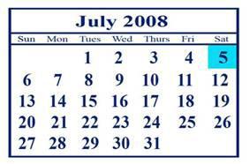 july 2008 calendar