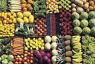 fruits et légumes : bananes, ananas, salades vertes, melons, pommes, carottes, choux, oranges, navets, citrons, brocolis, etc.